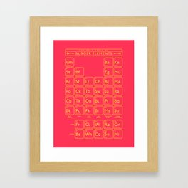 Periodic Table of Burger Elements - Red Framed Art Print