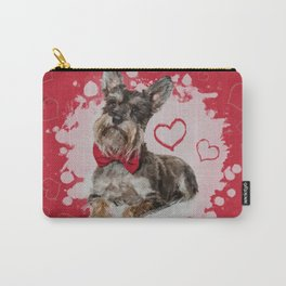 Cute Schnauzer on Hearts Pattern Carry-All Pouch