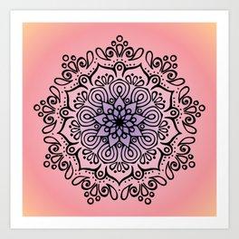 Baesic Sunset Traquil Mandala Art Print