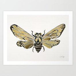 Summer Cicada – Black & Gold Palette Art Print
