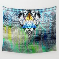 the lion king Wall Tapestries featuring KING LION by sametsevincer