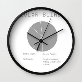 Color Blind Pie Chart Print Wall Clock