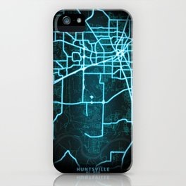 Huntsville, AL, USA, Blue, White, Neon, Glow, City, Map iPhone Case