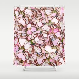 pink abstract daisies Shower Curtain
