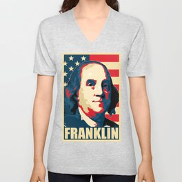 Benjamin Franklin America Pop Art Unisex V-Neck