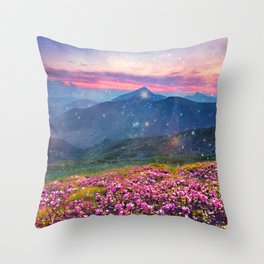 Blooming mountains Throw Pillow