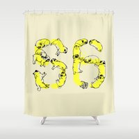 pugs Shower Curtains featuring Pugs Prank by Huebucket