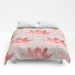 Pink Lotus Flower | Watercolor Texture Comforters