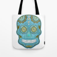sugar skull Tote Bags featuring sugar skull by Ancello
