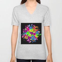 Retro Flower Puff Balls Unisex V-Neck