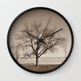 Lakeside Winter - Sepia Wall Clock