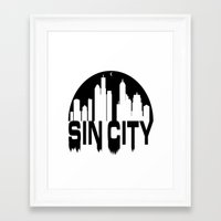 sin city Framed Art Prints featuring SIN CITY  by Robleedesigns