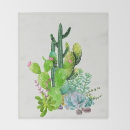 Cactus Garden II Throw Blanket