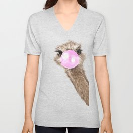 Sneaky Ostrich with Bubble Gum in Pink Unisex V-Neck