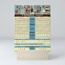 plakate horaires cff et cgn r marsens lausanne service du 30 septembre 1956 au 1er juin 1957 cff sbb Mini Art Print