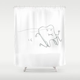 Floss - running tooth - mint Shower Curtain