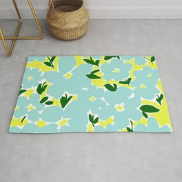 Groovy Flower Print / Blue and Yellow 60s and 70s print / Abstract Floral Pattern / Retro Florals Rug