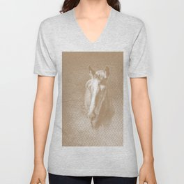 Horse emerging from the mist in iced coffee beige Unisex V-Neck