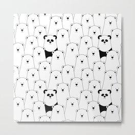 Polar bear and panda cartoon Metal Print