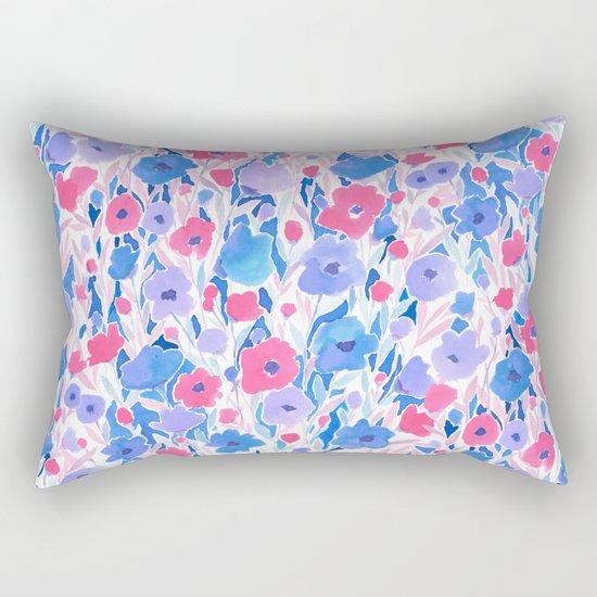 Flower Field Lilac Blue Rectangular Pillow