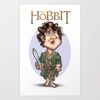 hobbit Art Prints featuring The Hobbit by Roberto Núñez
