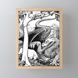 Fantasy dragon with monkeys and scared child Framed Mini Art Print