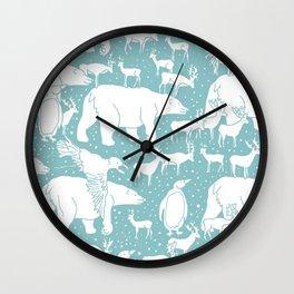 Polar gathering (peppermint) Wall Clock
