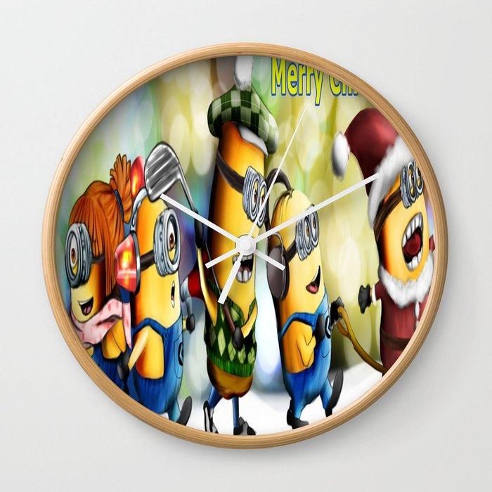 Minion Christmas.Minion Christmas Wall Clock