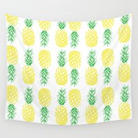 pineapples Wall Tapestries featuring Pineapples  by Ashley Hillman