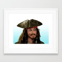 jack sparrow Framed Art Prints featuring Jack Sparrow by San Fernandez
