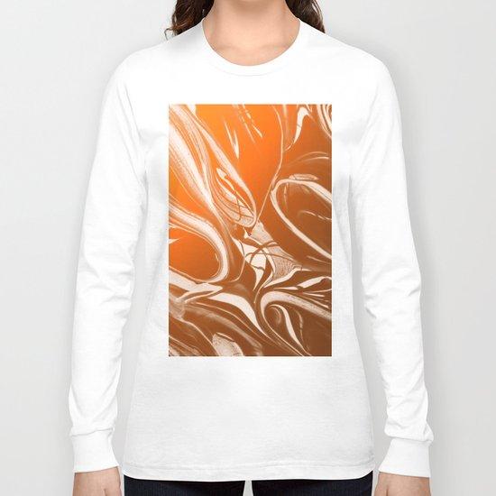 Copper Swirl - Copper, Bronze, gold and white metallic effect swirl pattern Long Sleeve T-shirt