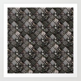 Faux Patchwork Quilting - Black Art Print