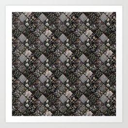 Faux Patchwork Quilting - Black Art Print