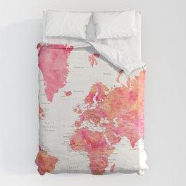 "Adventure Awaits watercolor world map in hot pink and orange, ""Tatiana"" Duvet Cover"