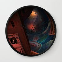 sci fi Wall Clocks featuring Sci-Fi by Lyle Hatch