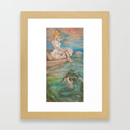 could we be friends? Bffs bestfriends mermaid and beautiful lady boat on the ocean at sunset Framed Art Print
