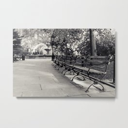 On a Park Bench At City Hall Metal Print