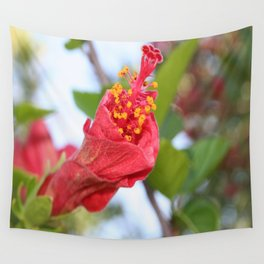 Curled Petals of A Red Hibiscus Bud Wall Tapestry