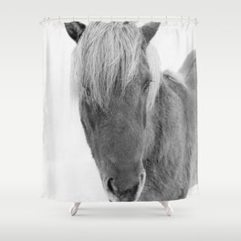 Black and White Icelandic Horse Shower Curtain
