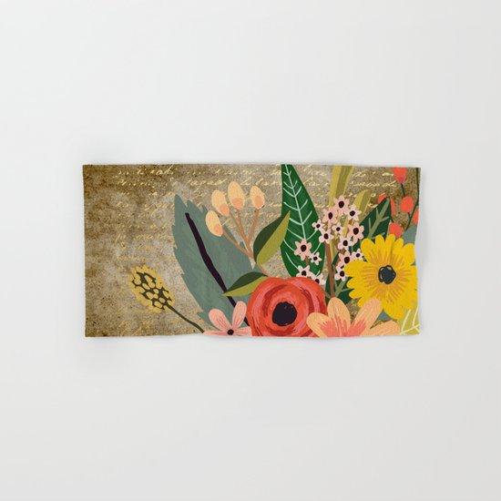 Flower bouquet letter gold #10 Hand & Bath Towel