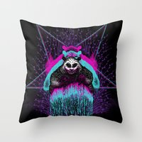 three of the possessed Throw Pillows featuring Possessed Panda by pigboom el crapo