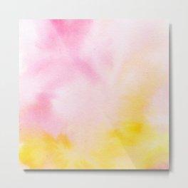 Yellow blush pink watercolor abstract brushstrokes pattern Metal Print