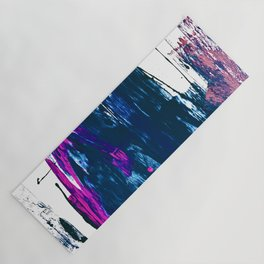 Curiosity: a vibrant minimal abstract mixed-media piece in blue and pink by Alyssa Hamilton Art Yoga Mat