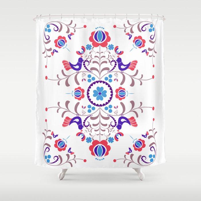 RED BLUE Hungarian Folk Art Shower Curtain