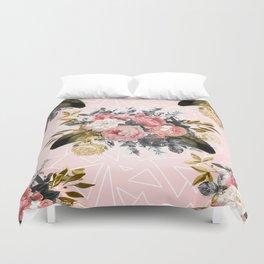 Romantic vintage roses and geometric design Duvet Cover
