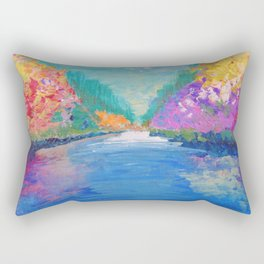 AROUND THE RIVERBEND - Autumn River Modern Nature Pochahontas Abstract Landscape Acrylic Painting Rectangular Pillow