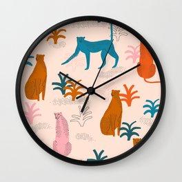 Rainbow cheetahs Wall Clock
