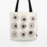 poppy Tote Bags featuring poppy by NOA ALON ART