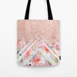 Modern rose gold glitter ombre floral watercolor white marble triangles Tote Bag