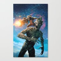 guardians of the galaxy Canvas Prints featuring Guardians of the Galaxy by crayonide